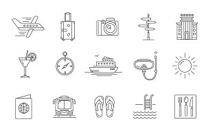 Tourism, hotel and travel line icons