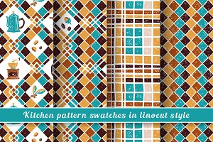 Kitchen seamless patterns