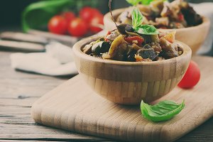 Italian dish with eggplant and tomat