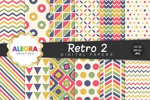 Retro 2 Digital Paper Pack