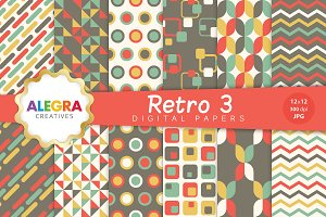 Retro 3 Digital Paper Pack