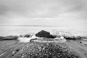 Nostalgic sea. Black and white.