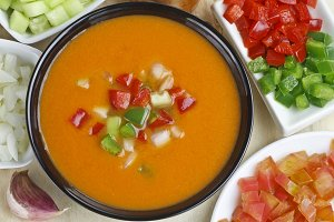 Spanish Gazpacho and ingredients