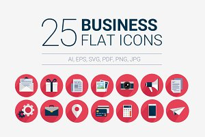 25 Business flat icons