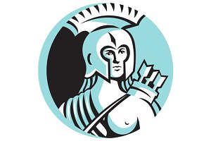 Female Spartan Warrior Circle Retro