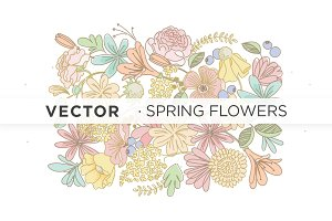 Spring Flowers . Vectors Ai