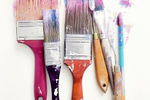 Messy Colorful Paintbrushes