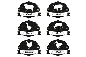 Meat labels and badges in vintage.