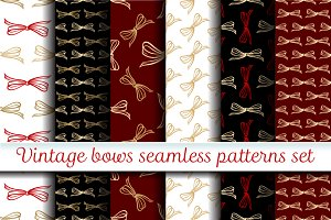 Vintage bows seamless patterns set