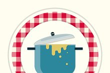 Saucepan. Vintage kitchen icon
