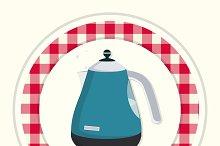 Kettle. Vintage kitchen icon.