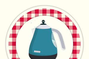 Kettle. Vintage kitchen icon.