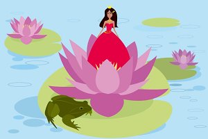 Illustration of Princess with frog
