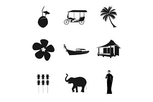 Thailand black and white clipart set