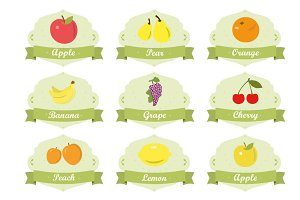 Fruits labels in vintage style set