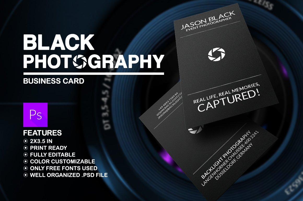 Black photography business card business card templates creative black photography business card business card templates creative market reheart Images