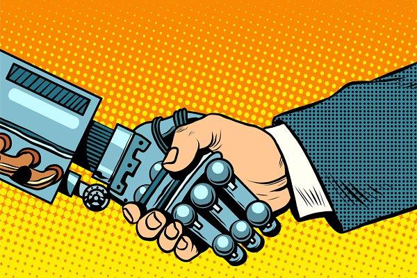 Handshake of robot and man