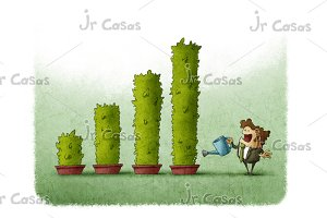 Business man watering plants grow as a bar graph