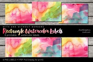 Rectangle Watercolor Labels