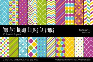 Fun And Bright Colors Digital Papers
