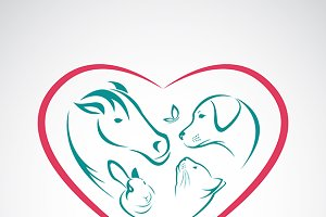 Animal on heart shape