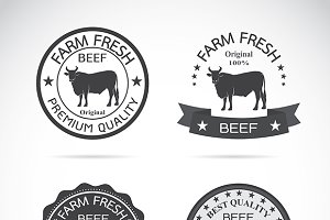 Set of vector cow labels