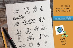 Eco icon set. Vector and PNG.