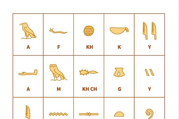 Egyptian hieroglyphics alphabet