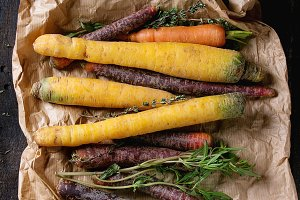 Colorful raw carrots
