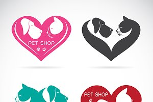 Dog and cat with heart, Vector
