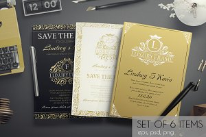 Set of gold luxury cards - vecor