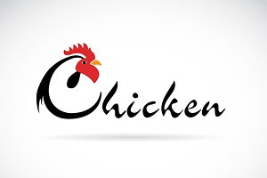 Vector design chicken is text