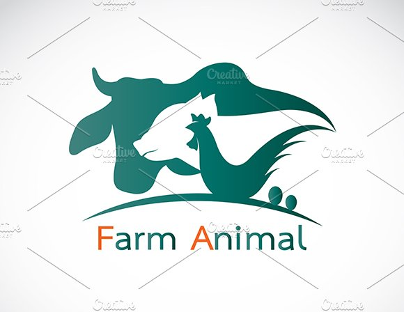 Vector Group Of Animal Farm Label Icons Creative Market