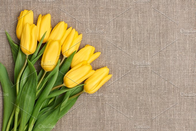 Mothers Day background.Tulips bouquet on sackcloth - Holidays