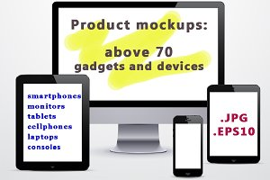 Above 70 gadgets - product mockups