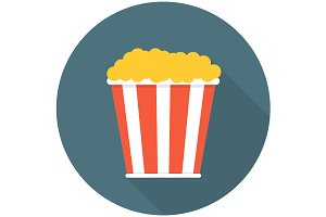 Pop corn flat icon