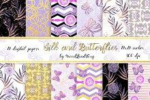 Butterflies flowers digital papers.