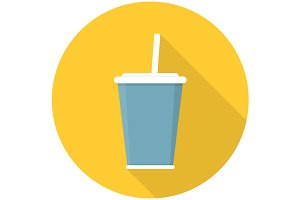 Soda with straw flat icon