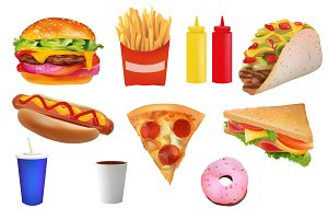 Tasty Realistic Fast Food Set