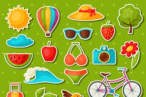 Set of summer stickers.