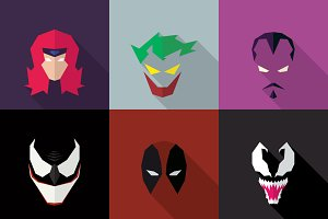 SuperHeroes Masks Flat (Set 07)