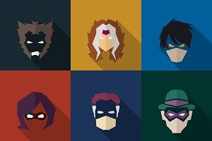 SuperHeroes Masks Flat (Set 08)