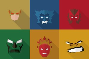 SuperHeroes Masks Flat (Set 09)
