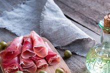 Jamon with capers and olives