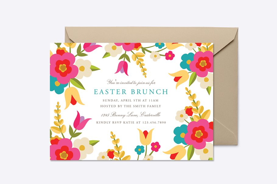 Country Flowers Easter Invite