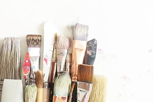 Assorted Used Paintbrushes Gathered