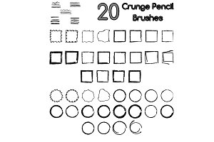 20 grunge pencil brushes
