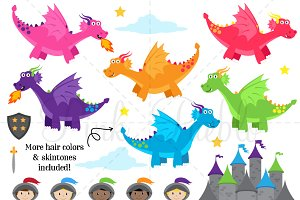 Knights & Dragons Clipart & Vectors
