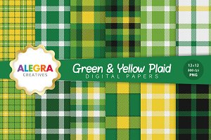 Green & Yellow Plaid Digital Papers