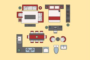 Floor plan Furniture in top view